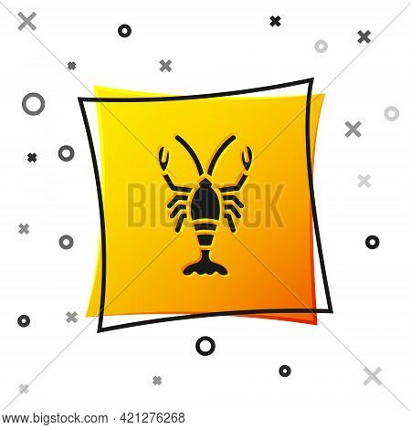Black Lobster Icon Isolated On White Background. Yellow Square Button. Vector