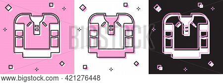 Set Embroidered Shirt Icon Isolated On Pink And White, Black Background. National Ukrainian Clothing