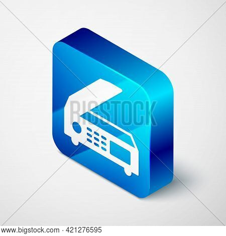 Isometric Scanner Icon Isolated On Grey Background. Scan Document, Paper Copy, Print Office Scanner.