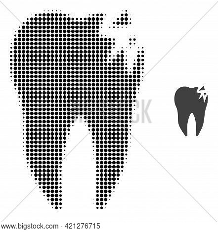 Cracked Tooth Halftone Dotted Icon Illustration. Halftone Pattern Contains Round Elements. Vector Il