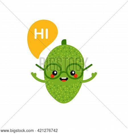 Cute Smiling Cartoon Style Green Jackfruit Character In Glasses With Speech Bubble Saying Hi, Hello.