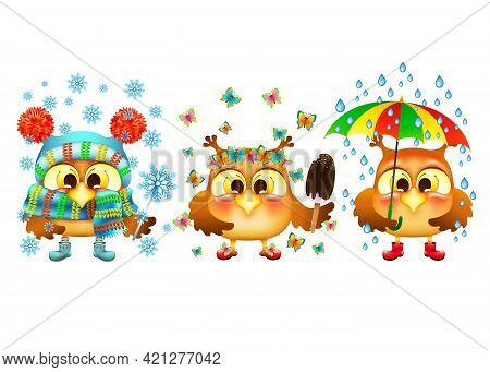Three Funny Cartoon Owls Set. Different Seasons And Cute Birds On White Background. Weather In The W