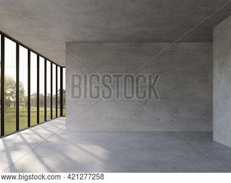 Empty Concrete Room With Nature View 3d Render,there Are Polished Concrete Floor ,wall And Ceiling,t