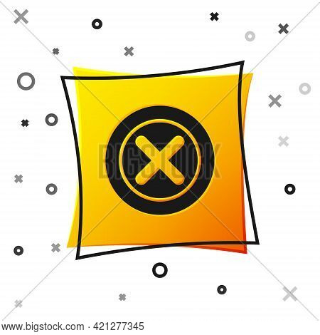 Black X Mark, Cross In Circle Icon Isolated On White Background. Check Cross Mark Icon. Yellow Squar