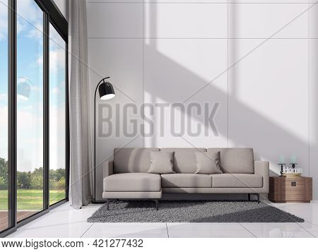 Modern White Living Room With Sunshine In The Room 3d Render,there Are Empty White Wall ,decorate Wi