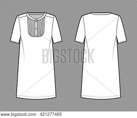 Dress Bib Pintucked Technical Fashion Illustration With Henley Neckline, Short Sleeve, Oversized Bod