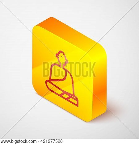 Isometric Line Buddhist Monk In Robes Sitting In Meditation Icon Isolated On Grey Background. Yellow