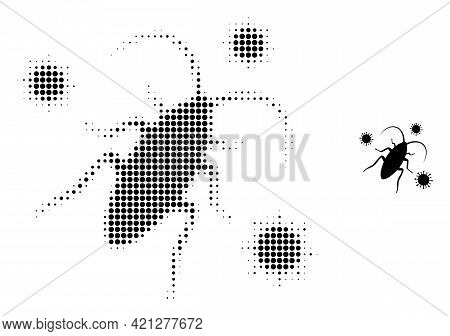 Cockroach Infection Halftone Dot Icon Illustration. Halftone Array Contains Round Points. Vector Ill