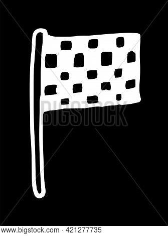 Line Art Doodle Sports Flags Pattern For Decoration Design. Doodle Illustration On White Backdrop. V