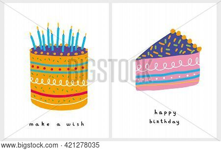 Cute Birthday Party Vector Cards. Hand Drawn Yellow Birthday Cake With Blue Candles On A White Backg