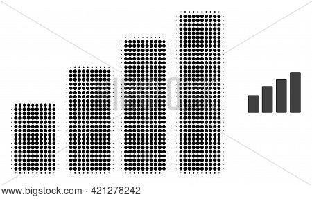 Bar Chart Halftone Dot Icon Illustration. Halftone Pattern Contains Round Elements. Vector Illustrat
