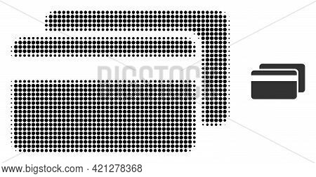 Credit Cards Halftone Dotted Icon Illustration. Halftone Pattern Contains Round Elements. Vector Ill
