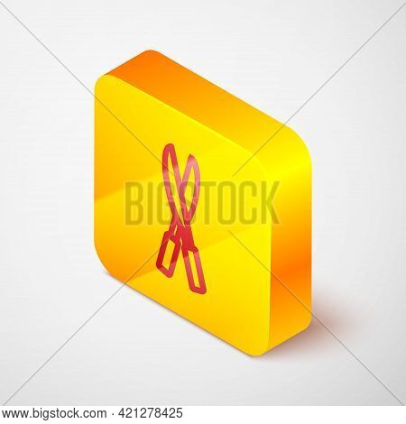 Isometric Line Gardening Handmade Scissors For Trimming Icon Isolated On Grey Background. Pruning Sh