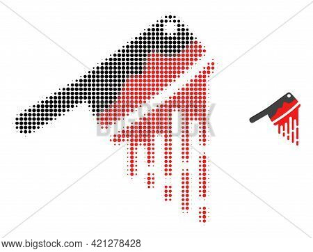 Blood Butchery Knife Halftone Dotted Icon Illustration. Halftone Array Contains Round Elements. Vect