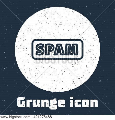 Grunge Line Spam Icon Isolated On Grey Background. Monochrome Vintage Drawing. Vector