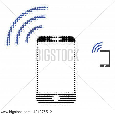Cellphone Signal Halftone Dot Icon Illustration. Halftone Pattern Contains Round Pixels. Vector Illu