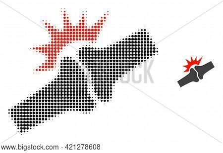 Bone Joint Fracture Halftone Dot Icon Illustration. Halftone Pattern Contains Circle Pixels. Vector