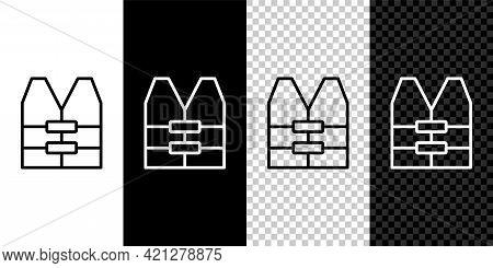Set Line Life Jacket Icon Isolated On Black And White Background. Life Vest Icon. Extreme Sport. Spo