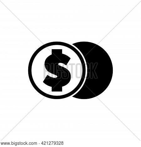 Crypto Coin Exchange, Digital Money. Flat Vector Icon Illustration. Simple Black Symbol On White Bac