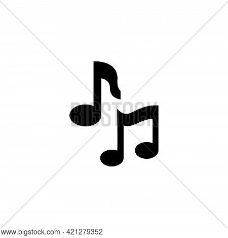 Musical Notes, Melody Tone, Note Key. Flat Vector Icon Illustration. Simple Black Symbol On White Ba