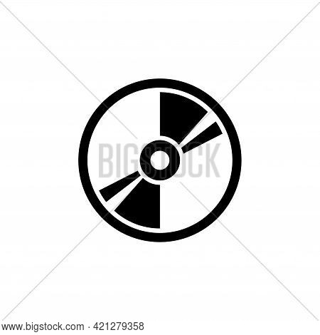 Compact Disk, Blu-ray, Cd Or Dvd. Flat Vector Icon Illustration. Simple Black Symbol On White Backgr
