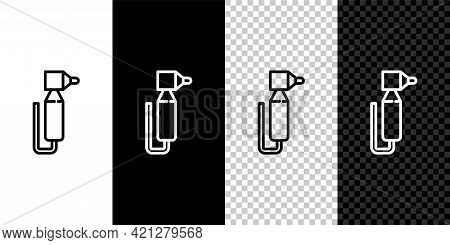 Set Line Tooth Drill Icon Isolated On Black And White Background. Dental Handpiece For Drilling And