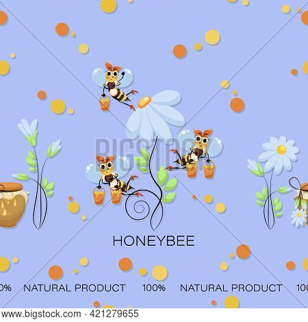 Bees Collect Honey. Natural Product. Chamomile Vector Background, Pattern. Swarm. Honey Bees Fly.