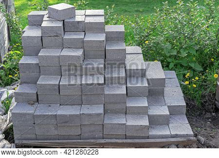 Blocks Of Gray Granite Paving Stones For Paving Roads And Footpaths.