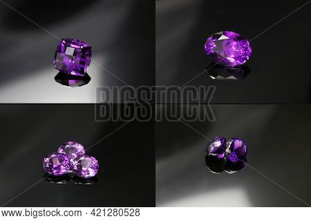 Natural Deep Purple Color Loose Amethysts Gemstone Setting Set. Custom Cut, Oval And Round Shaped, C