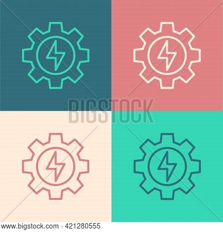 Pop Art Line Gear And Lightning Icon Isolated On Color Background. Electric Power. Lightning Bolt Si