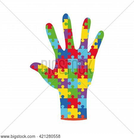 World Autism Awareness Day Banner With Hand Assembled From Puzzle Pieces. Jigsaw Puzzle Multicolored
