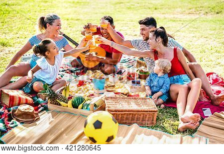 Multiracial Families Having Fun Together With Kids At Pic Nic Barbecue Party - Joy And Love Life Sty