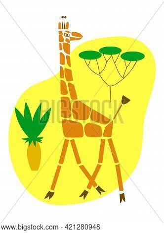 Giraffe And Savanna Trees On Yellow Background. Vector Color Illustration.