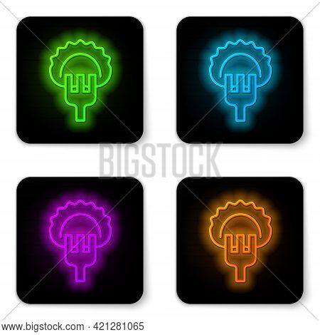 Glowing Neon Line Dumplings On Fork Icon Isolated On White Background. Pierogi, Varenyky, Pelmeni, R