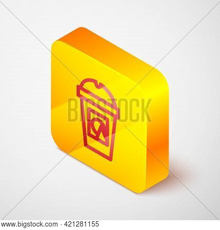 Isometric Line Coffee Cup To Go Icon Isolated On Grey Background. Take Away Print. Yellow Square But