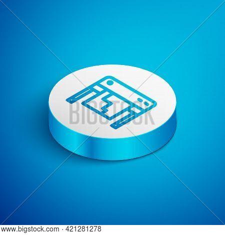 Isometric Line Plotter Icon Isolated On Blue Background. Large Format Multifunction Printer. Polygra