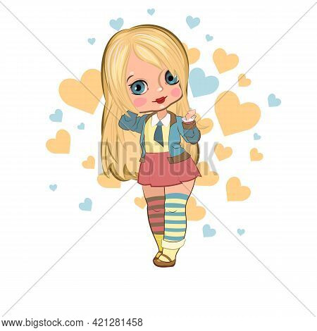 Little Girl In A Beautiful Skirt. Nice, Funny Flirt. Handsome Fashionable Child. The Isolated Object