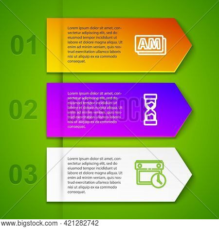 Set Line Clock Am, Old Hourglass, Calendar And Clock And Time Management. Business Infographic Templ