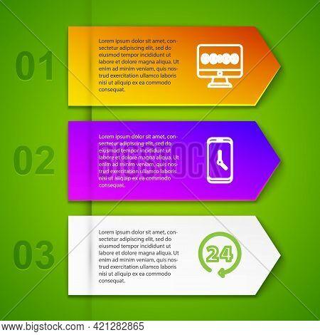 Set Line Clock On Monitor, Alarm Clock App Mobile, 24 Hours And Digital Alarm. Business Infographic