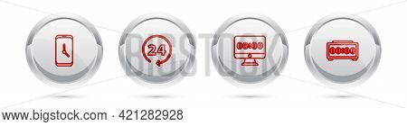 Set Line Alarm Clock App Mobile, Clock 24 Hours, On Monitor And Digital Alarm. Silver Circle Button.