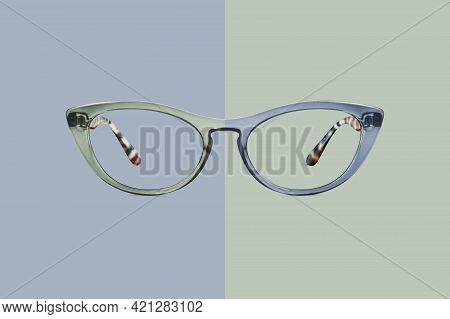 Green And Blue Color Glasses Isolated On Background, Ideal Photo Template For Display Or Advertising