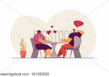 Couple Having Date In Cafe. Affectionate Young People Having Dinner And Talking. Cute Lovers Flirtin