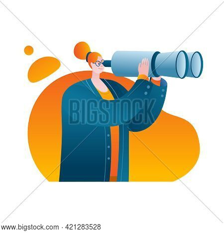 A Businesswoman In A Business Suit Looks Through Binoculars. Vector Illustration On The Topic Of Sea