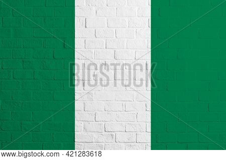 Flag Of Nigeria. Brick Wall Texture Of The Flag Of Nigeria.