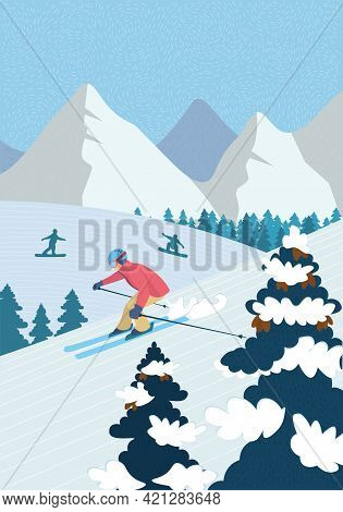 Winter Hand-drawn Poster Active Recreation In Alpine Mountains. Skier Downhill Skiing Down Snowy Slo