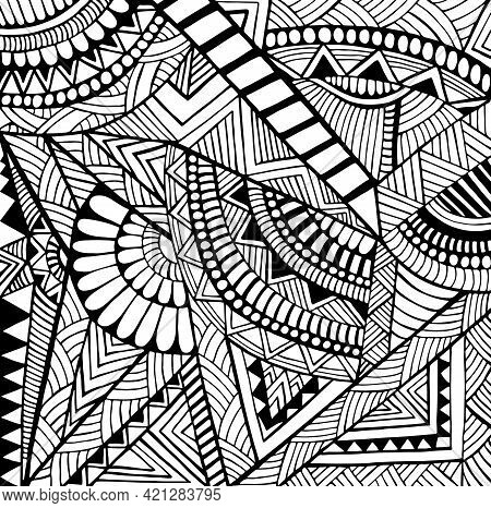 Psychedelic Tribal Abstract Geometric Floral Ornament Coloring Page For Adults And Kids, Isolated Wh