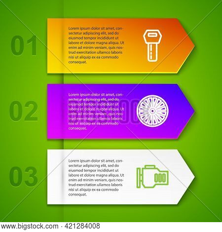 Set Line Car Key With Remote, Alloy Wheel, Check Engine And Engine Piston. Business Infographic Temp