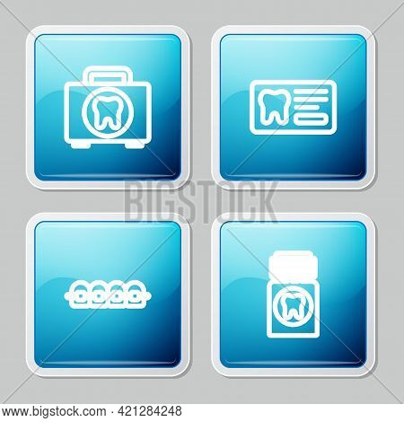 Set Line First Aid Kit, Dental Card, Teeth With Braces And Painkiller Tablet Icon. Vector