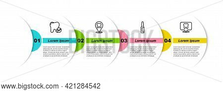 Set Line Tooth Whitening Concept, Dental Clinic Location, Painkiller Tablet And . Business Infograph