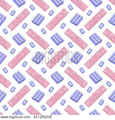 Vector Bubble Gum Seamless Pattern, Square Repeating Bubblegum Background For Kids Textile, Poster W